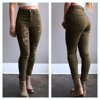 A High Waisted Ripped Skinny in Olive