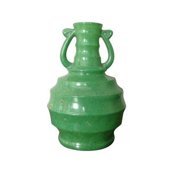 Pre-owned Art Deco Green Glass Vase