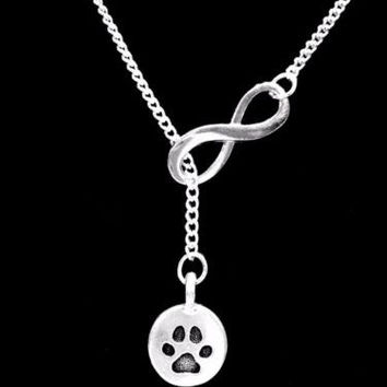 Paw Print Dog Cat Fur Baby Animal Infinity Lariat Necklace