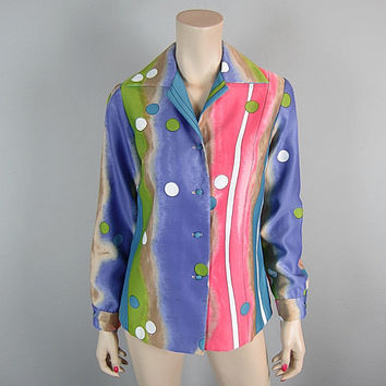 Tori Richard Vintage 70s Hawaiian Rainbow Atomic Print Blouse Top Mod Bubble Tie Dye Watercolor Print Mad Men New Wave punk