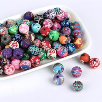 200pcs/lot 8mm Mixed Fimo Polymer Clay Spacer Loose Beads Diy Jewelry Accessories Making Material For Handmade Bracelet Necklace