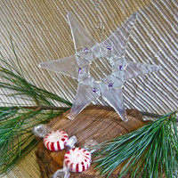 Christmas Ornament / Glass Star or Suncatcher - Many Color Options /  Rainbow Colors