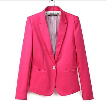 new hot stylish and comfortable women's Blazers Candy color lined with striped  suit   Free Shipping WL2314