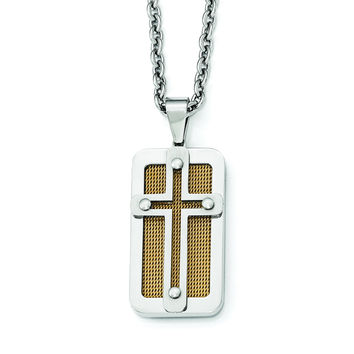 Stainless Steel Polished Yellow IP-plated Wire Inlay Cross Necklace SRN1996