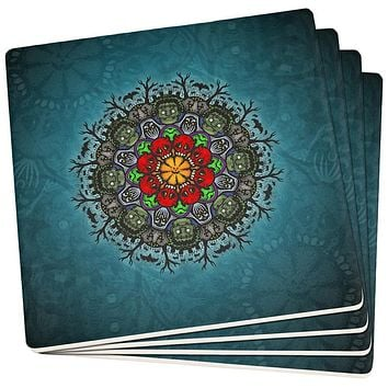 Halloween Classic Movie Monster Mandala Set of 4 Square Sandstone Coasters