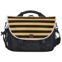 Beeswax Color And Horizontal Black Stripes Pattern Bags For Laptop from Zazzle.com