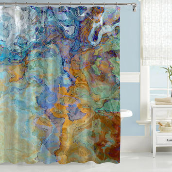 Contemporary shower curtain, abstract art, blue, blue-green, orange and brown shower curtain, Bridge