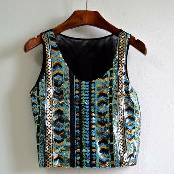 Women Sequin Tops Lady Tanks Sleeveless Bling Vests T-Shirt Tops Tee Bohemia Style Crop Tops VM