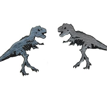 T-ReX-Ray Earrings in Silver/Black