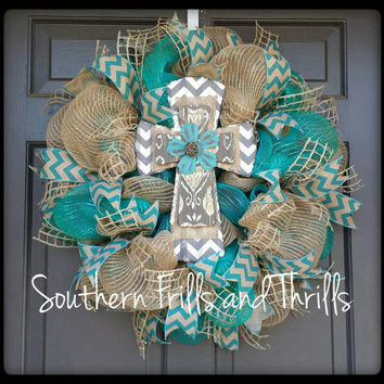 Cross Deco Mesh Wreath, Deco Mesh Wreath, Cross Wreath, Wreath, Door Hanger, Jute Wreath
