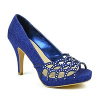 Celeste Melissa-03 Embellished Laser-cut Dress Pump in Blue @ ippolitan.com