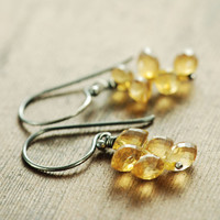 November Birthstone Citrine Jewelry, Citrine Flame Earrings, Sterling Silver Cluster Earrings, Dangle Earrings