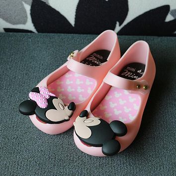 15-18CM Cute Cartoon Jelly Shoes Girls Sandals Infants Minnie Mickey Children Baby Girls shoes