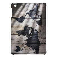 World map on wood texture case for the iPad mini from Zazzle.com