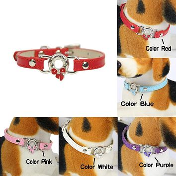 Fashion Pet Supplies Enamel Bowknot Faux Leather Band Puppy Dog Cat Collar