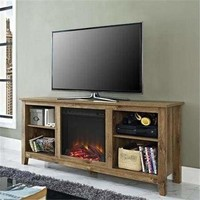 """58"""" Barnwood TV Stand with Fireplace Insert"""