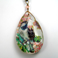 Vintage Chandelier Glass Pendant, Long Pendant  Necklace, Romantic Bird Necklace, Woodland Jewelry, Pastel Jewelry