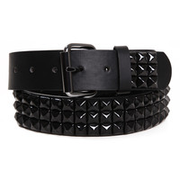 Three Row Black Pyramid Stud Belt