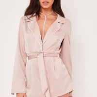 amy nude belted playsuit