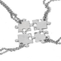 Necklace Set For FAmily Interlocking Jigsaw Puzzle Pendant Necklace Friendship Jewelry BFF Necklaces Best Friends Chokers For 4