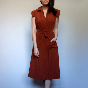 70s Rust Dress Pockets Collared Casual Summer Dress Boho Simple Sundress - Medium Large M L