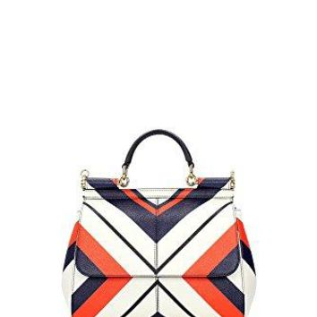 DOLCE & GABBANA Miss Sicily Striped Chevron White Orange Dauphine Leather Medium Bag Handbag Purse Tote