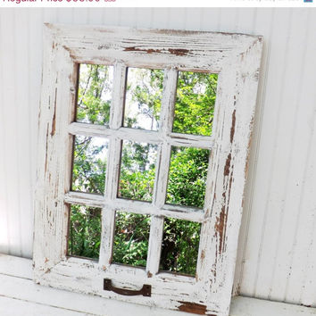 SUMMER SALE Rustic Farmhouse Window Mirror / Window Pane Mirror / Shabby Chic Mirror / Large Wall Mirror / Vintage Style