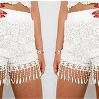 Amazon.com: Womens Lace Hollow Out High Waist Short Summer Casual Shorts