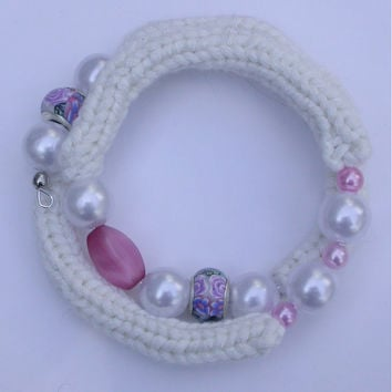 Knit Wrap Bracelet, White Silk Blend Yarn with Floral Euro Beads, White and Pink Faux Pearls on Memory Wire, Chic Fiber Jewelry