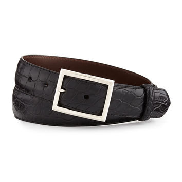 Matte Alligator Belt with Sterling Silver Buckle, Black (Made to Order)
