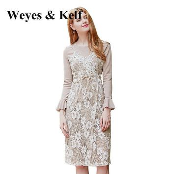 Weyes & Kelf Sweet Flare Sleeve Knitted Lining Dress women 2017 Autumn Sexy Lace O-neck Bow-Tie Party Femme Dresses Two Piece