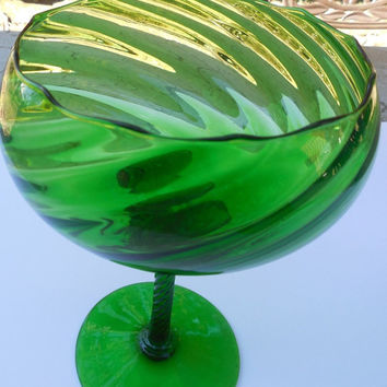 "Vintage Glass Blown Bowl - Gorgeous Green Blown Glass Candy Dish Goblet Cup 4"" x 7 1/2"""