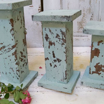 Large distressed pillar candle holders sea glass blue hand made wooden shabby chic ooak Anita Spero
