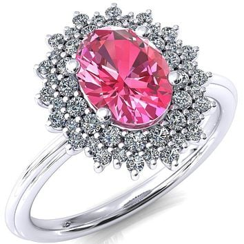 Eridanus Oval Pink Sapphire 4 Prong Diamond Cluster Halo Engagement Ring