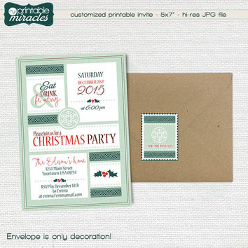 Christmas invitation, Printable Eat drink & be merry invitation, Digital personalized annual christmas party invite