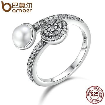BAMOER 100% 925 Sterling Silver Luminous Glow, White Crystal & Clear CZ Open Finger Rings for Women Anniversary Jewelry PA7640