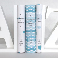 Blue Book Set - Decorative books - Adventure classics - 3 new books - custom book covers -  blue books - instant library - personalized gift
