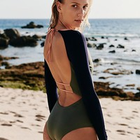 Moss Color-blocked Surf Suit