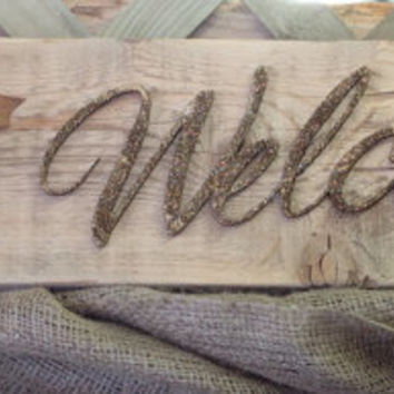 Welcome...Repurposed Rustic Burlap Sunflower Pallet Wood Sign Wall Decor