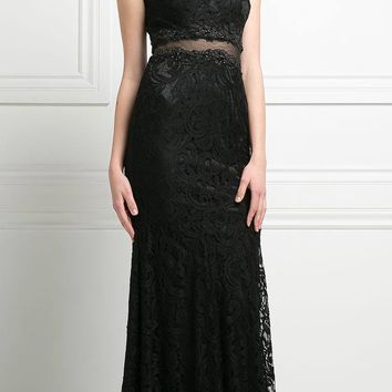Sleeveless Mock Two-Piece Evening Lace Dress Black