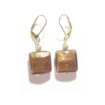 Murano Glass Brown Square Gold Earrings, Italian Glass Jewelry