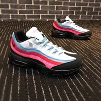 NIKE AIR MAX 95 Rainbow Color Trending Women Men Sneaker Shoes B-CSXY Blue B-CQ-YDX White/Red/Black line