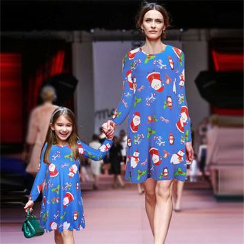 Matching Mother Daughter Hawaiian Luau Outfit Christmas Women Girl Dress Navy Santa Flamingo