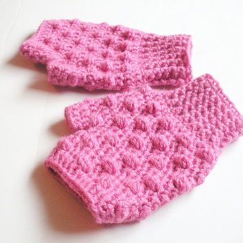 Crochet Fingerless Gloves in Pink Bobble, Wristlets, Wrist Warmers, MADE TO ORDER.