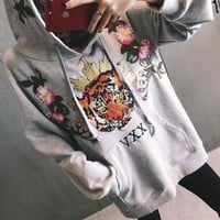 """Gucci"" Women Casual Tiger Head Flower Embroidery Loose Long Sleeve Hooded Sweater Tops"