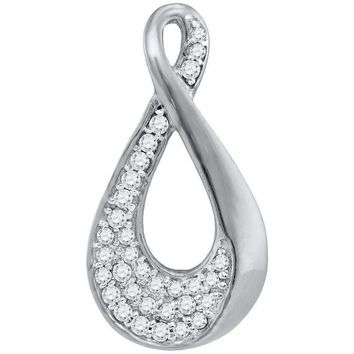 10kt White Gold Women's Round Diamond Teardrop Cluster Pendant 1-8 Cttw - FREE Shipping (US/CAN)
