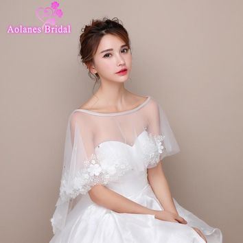 2017 Ivory Off White Lace Hi Lo Bridal Boleros Sleeveless Wedding Jackets Off Shoulder Appliques Wraps Shrug Wedding Accessories