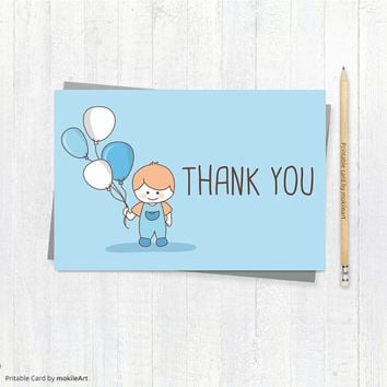 Printable thank you Card - Party card - INSTANT DOWNLOAD, favor cards, party supplies, printable file, party, Boy card