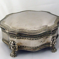 Vintage Silver Plate Jewelry Box w/ Lion Feet