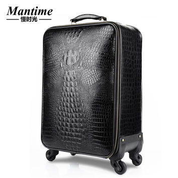 Vintage trolley suitcase caster board chassis luggage lock leather travel box Business Men cowhide Trolley Luggages